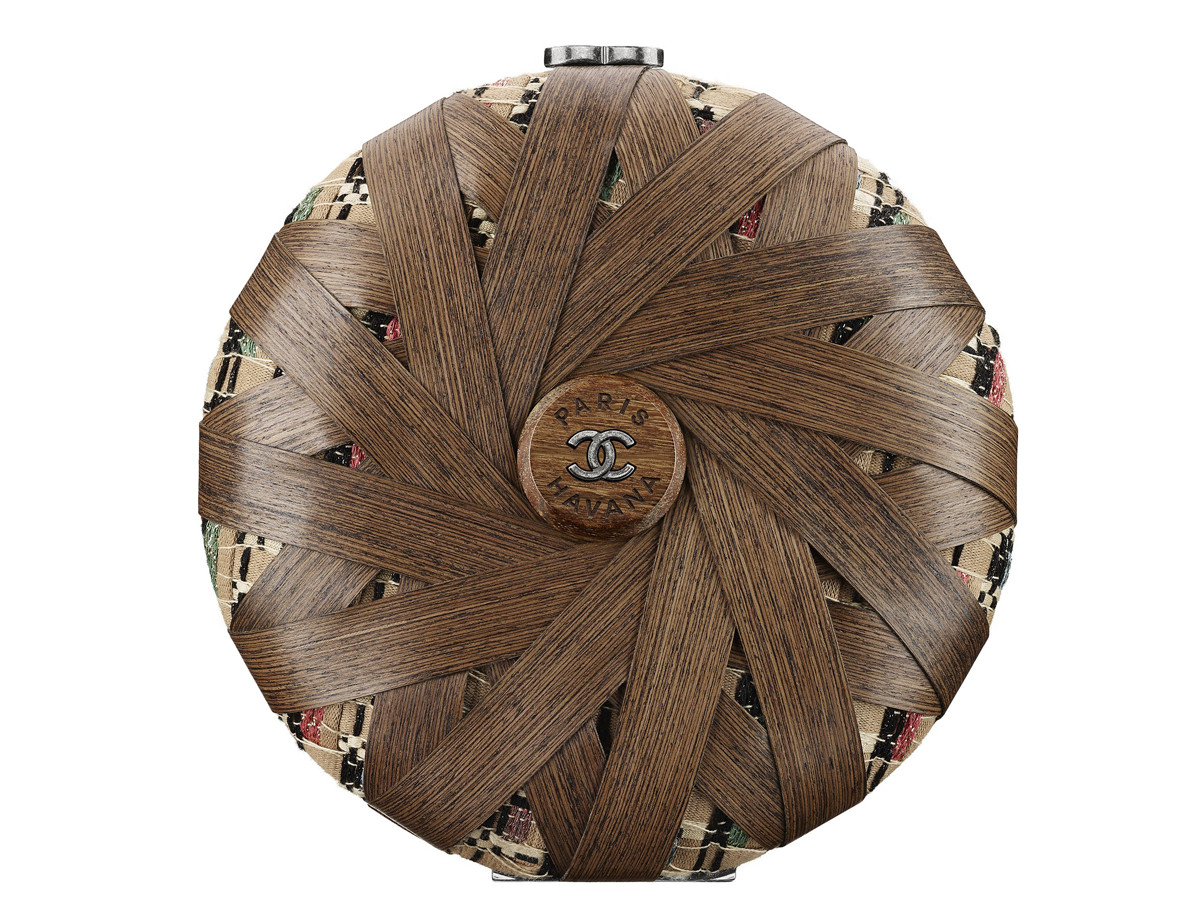Chanel Cuba Wood and multicoloured tweed minaudiere