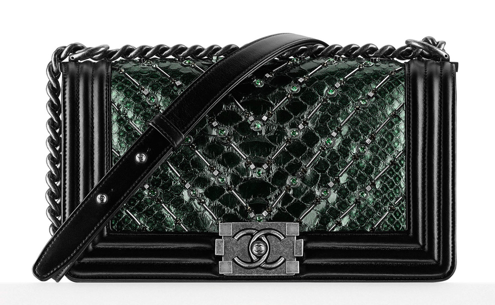 Chanel-Embellished-Python-Boy-Bag-Green