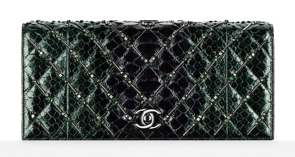 Chanel-Embellished-Python-Clutch