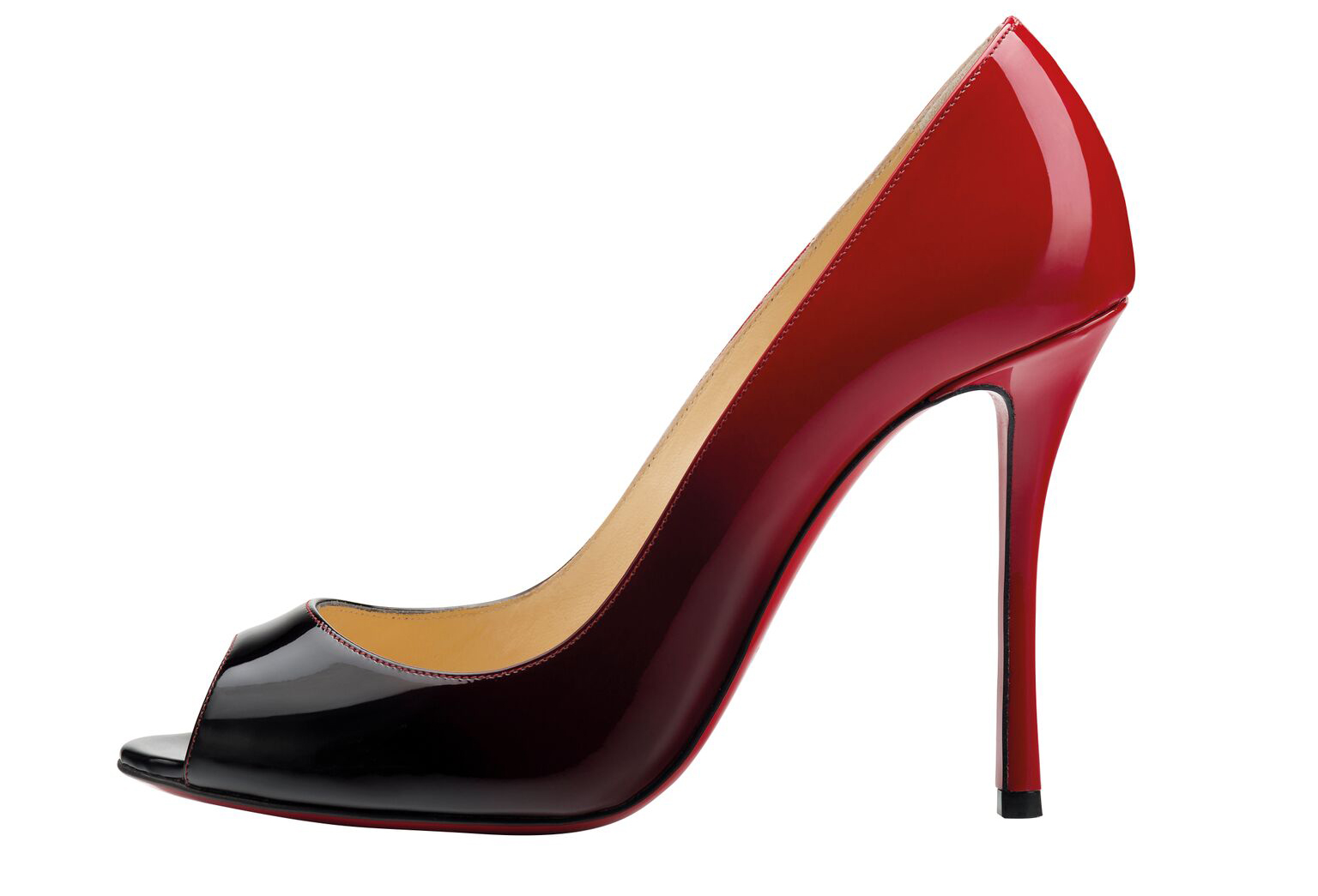 Christian Louboutin Yootish 100 Patent Degrade Black Red Pump