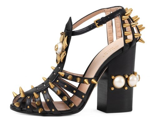 Gucci Kendell Pearly Metallic Block-Heel Sandal
