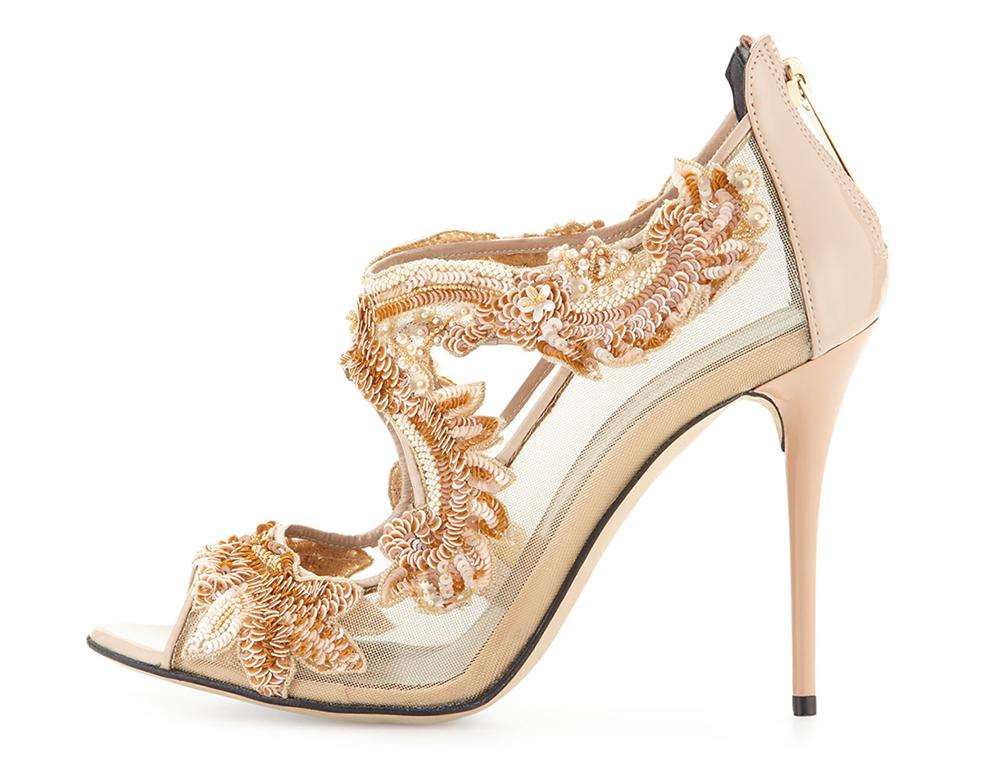 Oscar de la Renta Ambria Beaded Lace Sandal