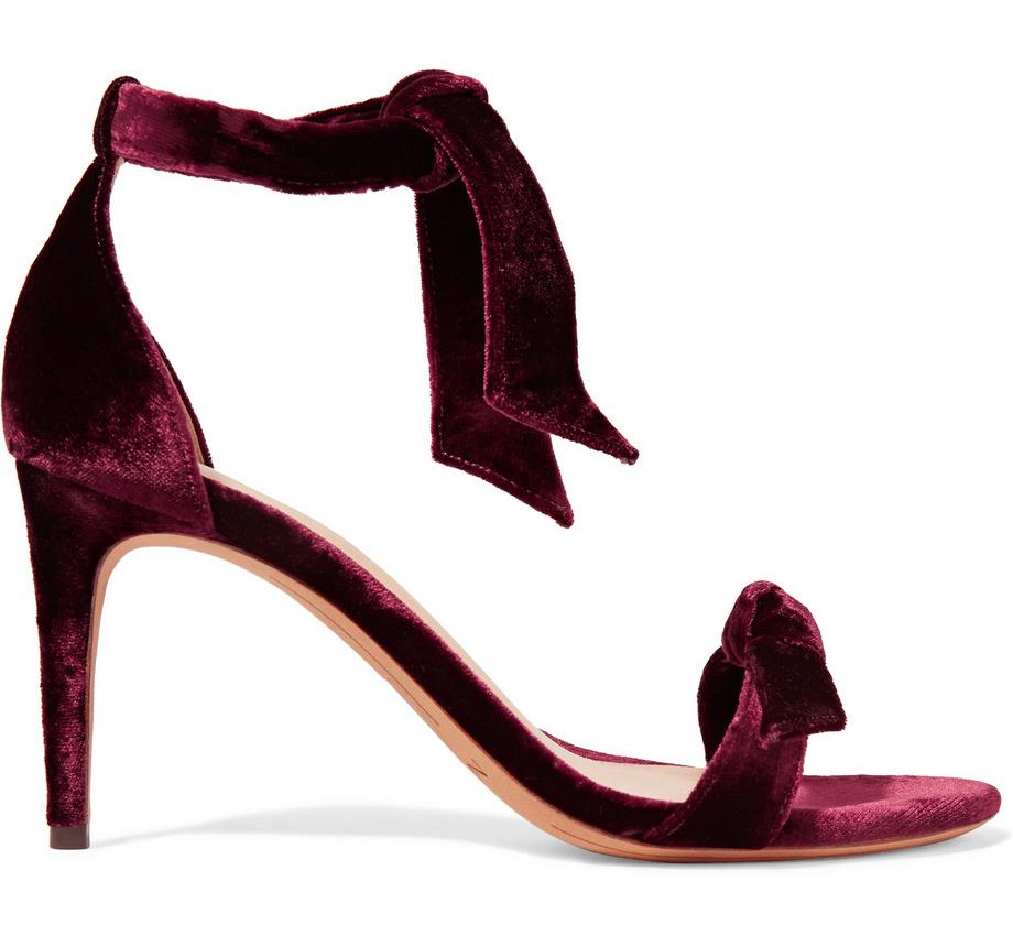 Alexandre Birman Clarita Bow-Embellished Velvet Sandals