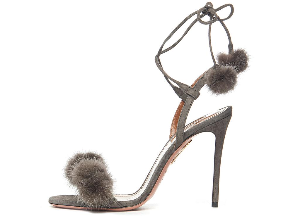 Aquazzura Wild Russian Mink Fur Sandal