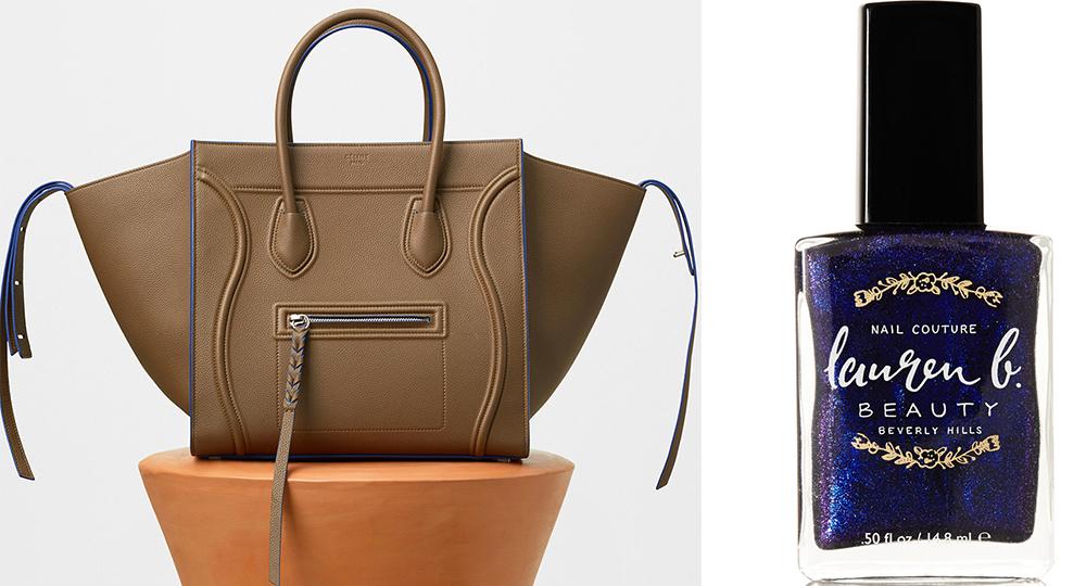Céline Medium Luggage Phantom Handbag: $3,400 via Céline Lauren B. Beauty Mid City at Midnight Nail Polish: $18 via Net-a-Porter