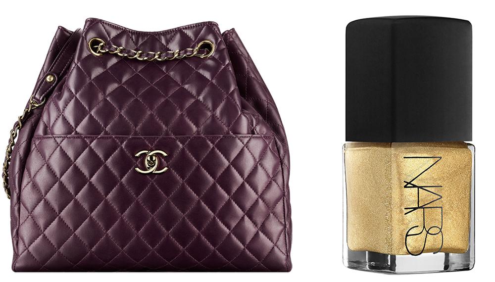 Chanel Drawstring Bag: $3,600 via Chanel  NARS Milos Nail Color: $20 via Sephora