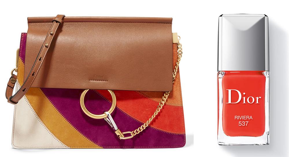 Chloé Faye Medium Leather and Suede Shoulder Bag: $2,450 via Net-a-Porter Dior Vernis Riveria Nail Color: $27 via Dior