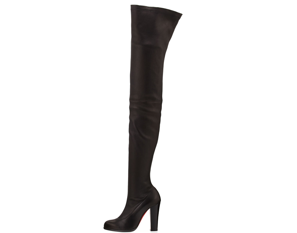 Christian Louboutin Verusch Leather 100mm Over-the-Knee Red Sole Boot
