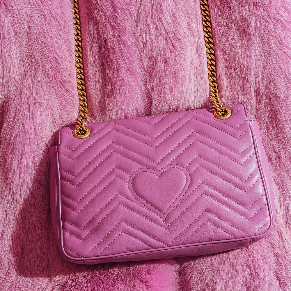 Gucci Pink GG Marmont Matelasse Shoulder Bag - Hearts Detail