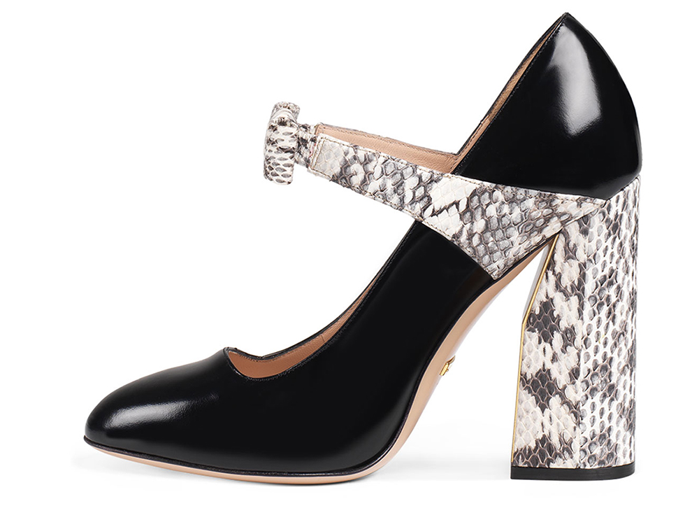 Gucci Nimue Snakeskin 110mm Mary Jane Pump