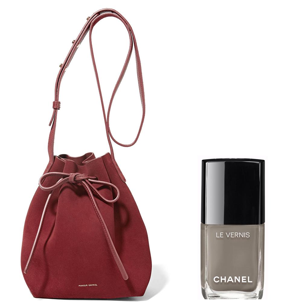 Mansur Gavriel Mini Suede Bucket Bag: $495 via Net-a-Porter Chanel Le Vernis Garçonne Nail Color:  $28 via Chanel