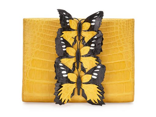 Nancy Gonzalez Butterfly Crocodile Small Clutch Bag