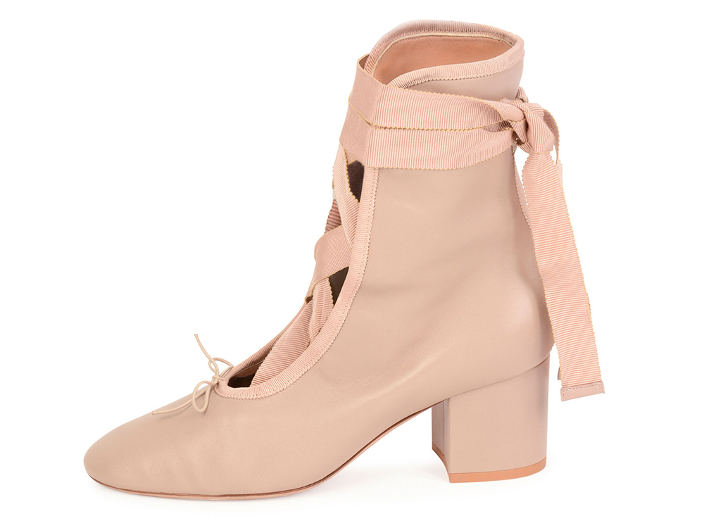 Valentino Ballet Napa Leather Lace-Up Bootie