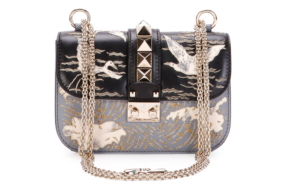 Valentino Lock Small Embroidered Leather Shoulder Bag