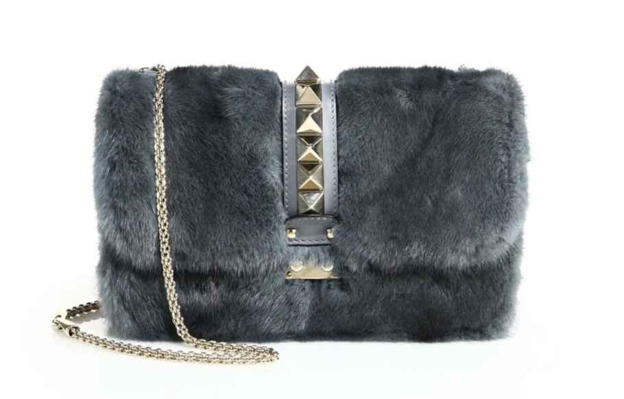 Valentino Rocklock Medium Mink Fur and Leather Shoulder Bag