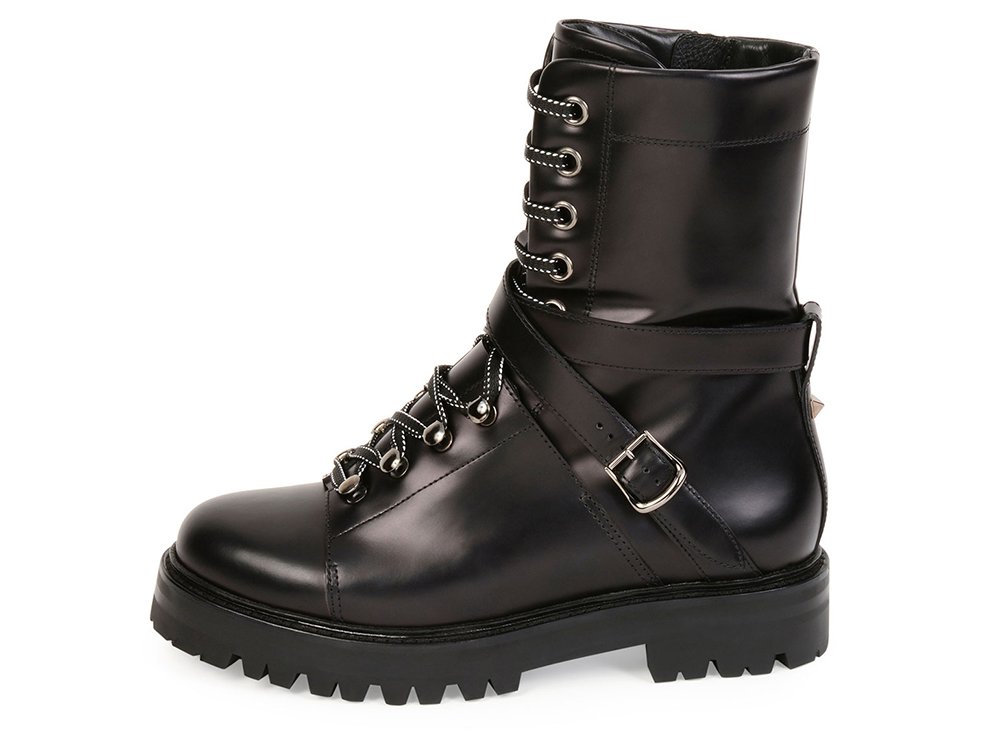 Valentino Rockstud Leather Combat Boot