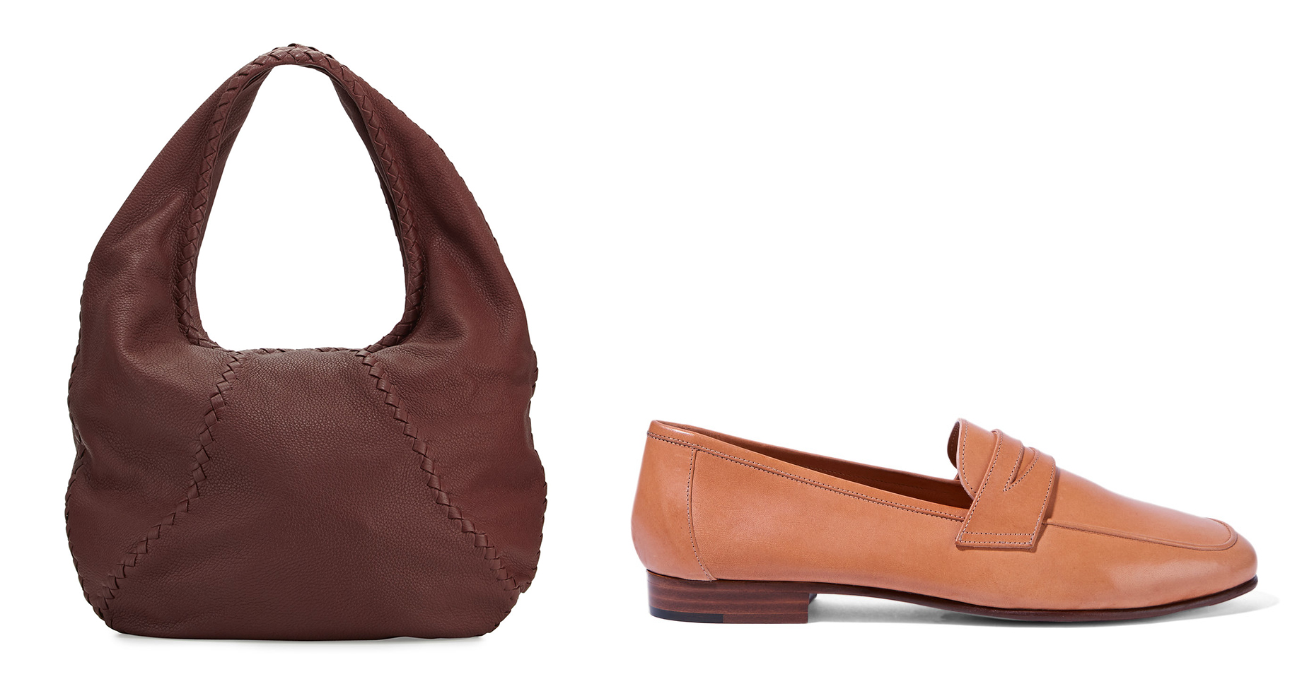 Bottega Veneta Cervo Large Leather Hobo Bag $1,780 via Neiman Marcus  Mansur Gavriel Leather Loafers $425 via Net-a-Porter