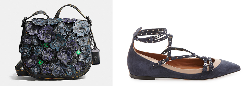 Coach Tea Rose Applique Saddle Bag 23 $695 via Coach  Valentino Love Latch Caged Ballerina Flat $975 via Neiman Marcus