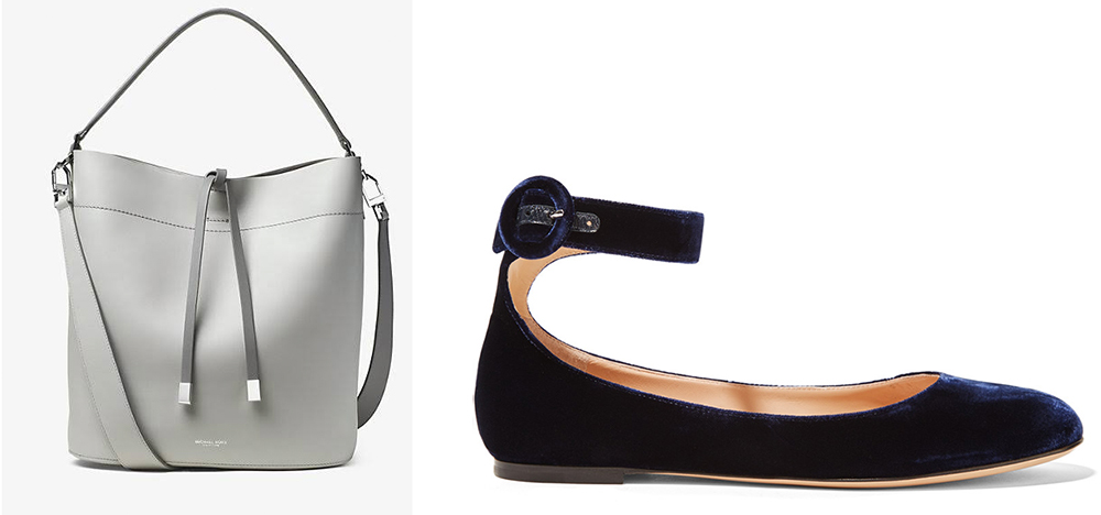Michael Kors Miranda Large Shoulder Bag $890 via Michael Kors  Gianvito Rossi Ballet Flats $695 via Net-a-Porter