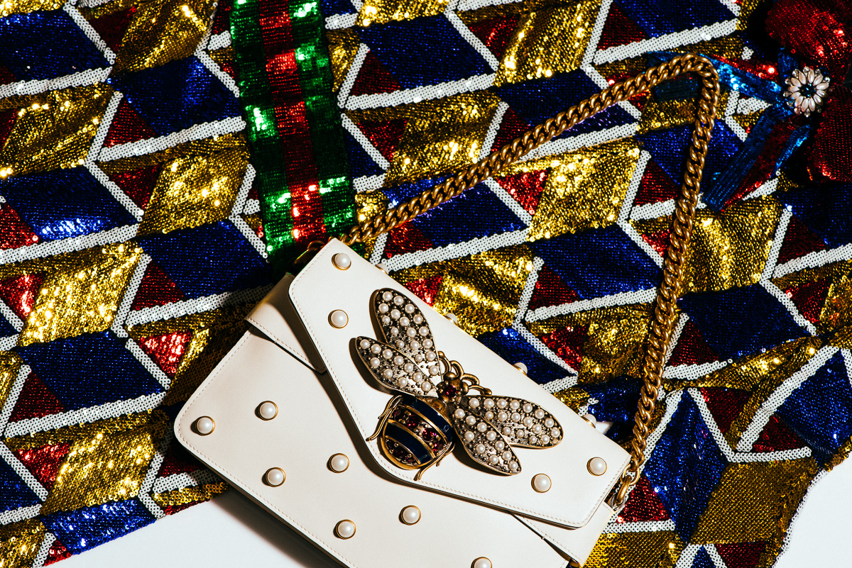 Gucci Broadway leather clutch & Sequin graphic dress