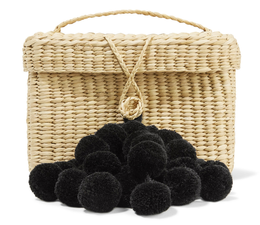 Nannacay Baby Roge Pompom-Embellished Woven Raffia Tote