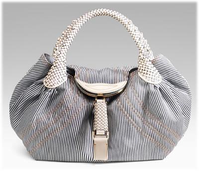 Fendi Striped Denim Spy Bag