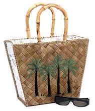 Lois Hill Palm Tree Straw Tote