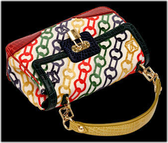 Louis Vuitton Chain-print bag with alligator trim
