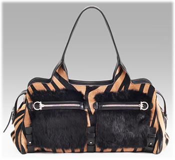 Salvatore Ferragamo Fur Trim Haircalf Bag