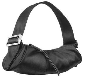 Tods Bamboo Black Satin Mini Evening Barrel Bag