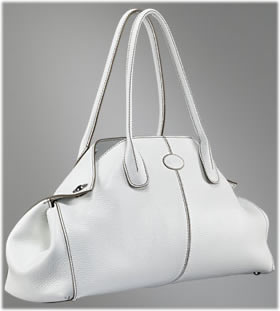 Tods Girelli East/West Bag in White Leather