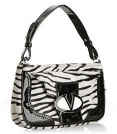 Valentino White Zebra Pony Hair Shoulder Bag