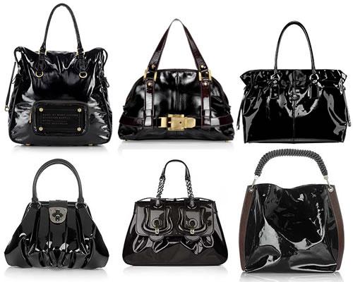 black patent leather handbags
