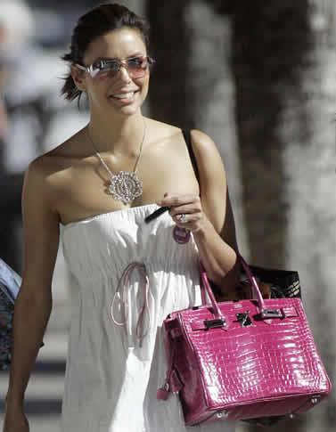white hermes birkin bag - Eva Longoria Style: Hermes Fuchsia Croc Birkin - PurseBlog