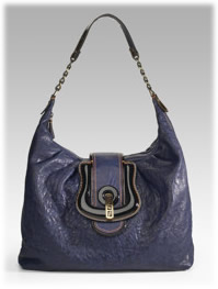 Fendi Pebbled Leather Hobo Handbag