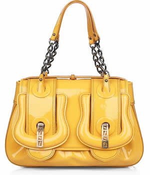 Fendi Yellow Patent Leather B Bag