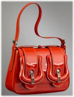 Fendi B. Patent Leather Medium Shoulder Bag