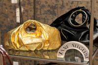 Jane August 57th Street Petite, Gold Metallic Leather ($1,980) - 57th Street, Black Shiny Leather ($1,055)