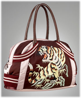 Jean Paul Gaultier Embroidered Satin Sport Bag