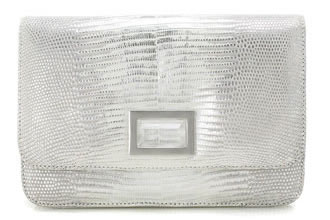 kara ross claro silver lizard bag