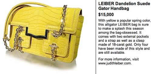 Leiber Dandelion Suede Gator Handbag