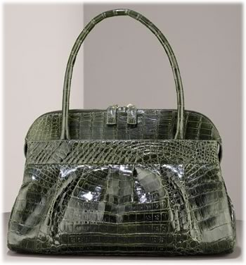 Nancy Gonzalez Ruched Crocodile Satchel