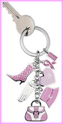 Coach Pink Multi Charm Keyfob