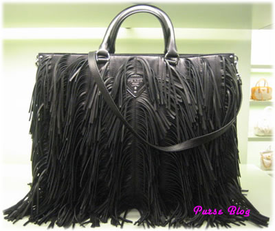 prada black fringe bag