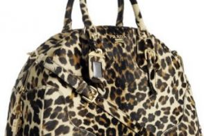 Prada Leopard Calf Hair Large Bowler Bag