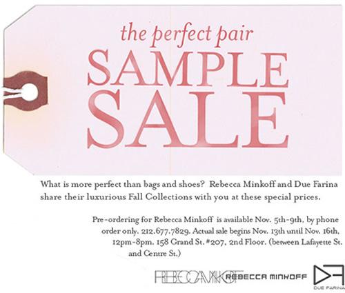 rebecca minkoff sample sale