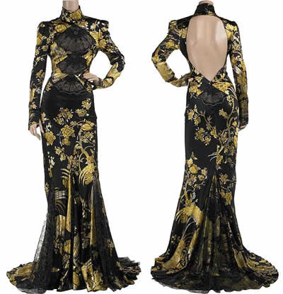 Roberto Cavalli Satin Brocade Dress