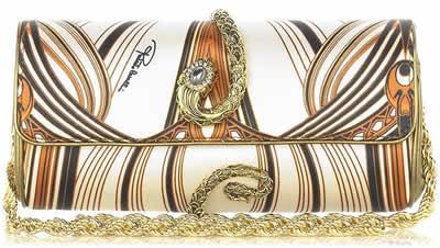 Roberto Cavalli Satin Serpent Clutch