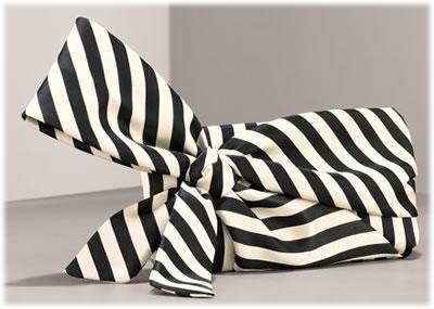 Valentino Striped Bow Clutch