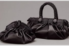Bottega Veneta Nero Ruched Jardin Clutch & Top Handle Bag